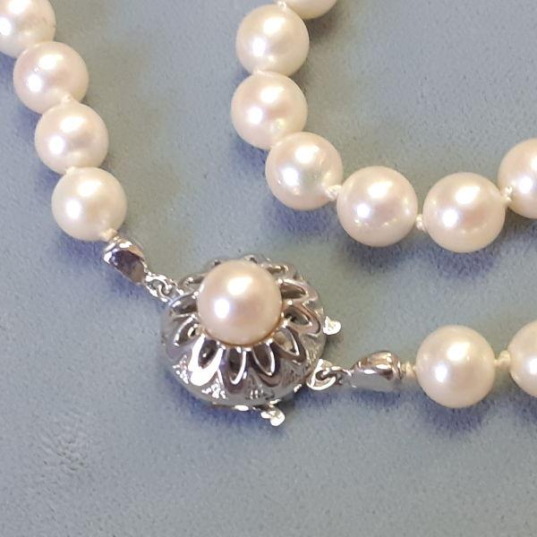 # 170101  Perlkette in 585-Weißgold