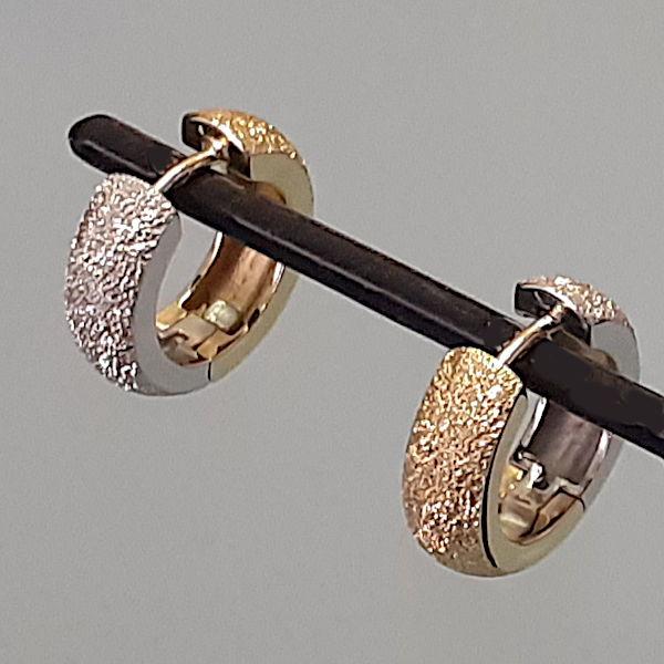 355317 Scharniercreolen in 375-Gold, Schmuck gebraucht, Second Hand / Goldschmiede Karl Spörl in Hof/Saale
