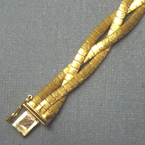 450413  geflochtenes Band in 750-Gold, Schmuck gebraucht, Second Hand / Goldschmiede Karl Spörl in Hof/Saale