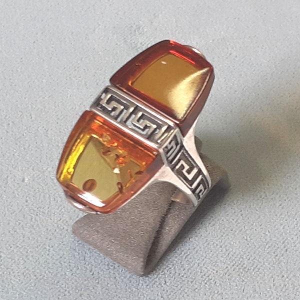 582101 Bernstein Ringe in Silber, Schmuck gebraucht, Second Hand / Goldschmiede Karl Spörl in Hof/Saale