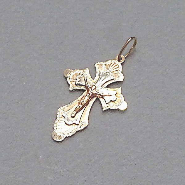 # 610607  Anhänger / Kreuz in 585-Gold rot/weiß