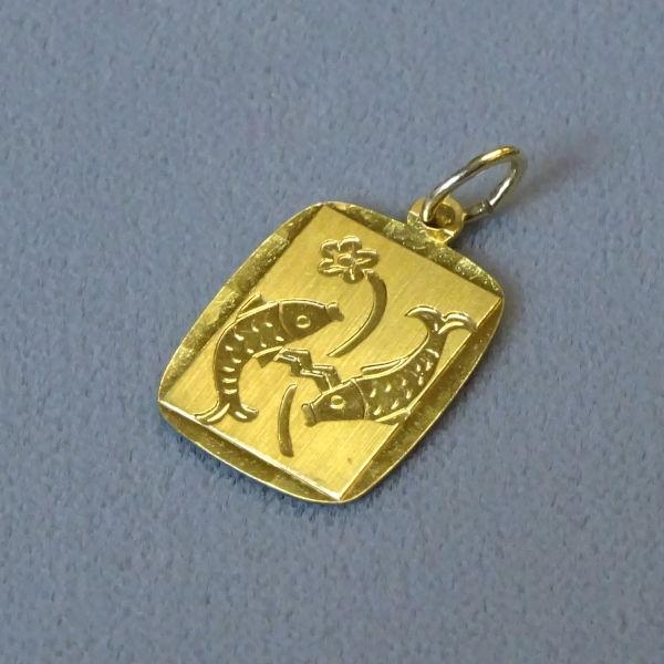 691201  Tierkreiszeichen in 585-Gold, Schmuck gebraucht, Second Hand / Goldschmiede Karl Spörl in Hof/Saale
