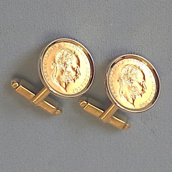 780704 Manschettenknöpfe in 585-Gold, Schmuck gebraucht, Second Hand / Goldschmiede Karl Spörl in Hof/Saale