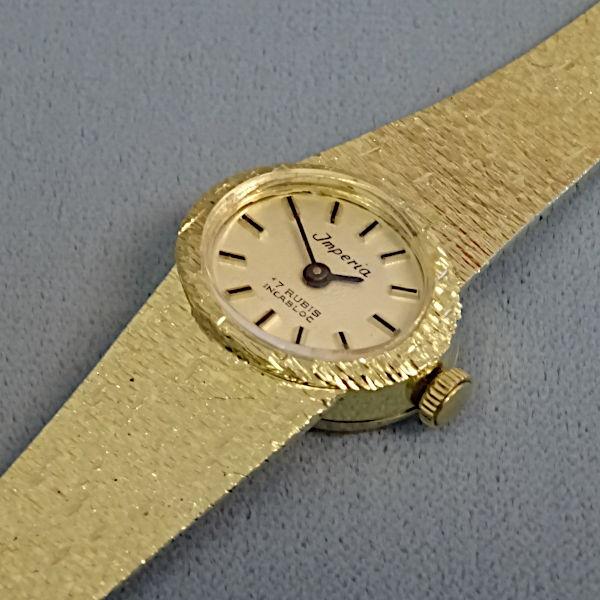 810801 Damen-Armbanduhr in 585-Gold, Schmuck gebraucht, Second Hand / Goldschmiede Karl Spörl in Hof/Saale