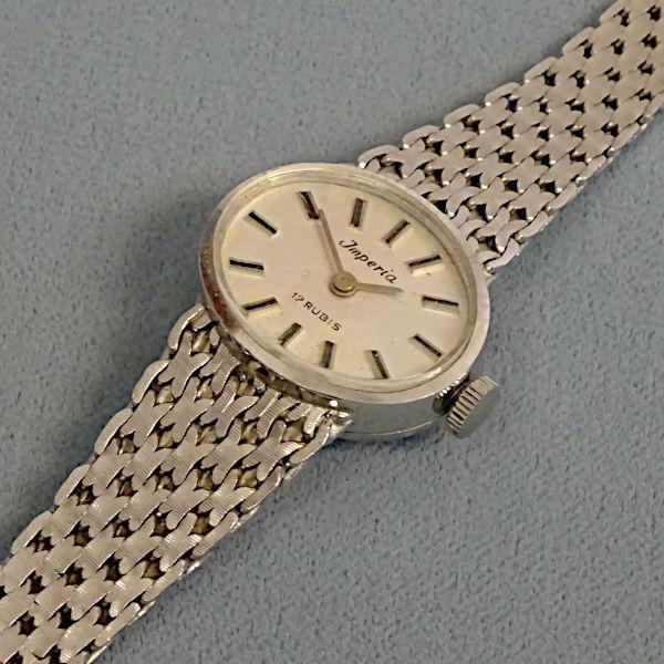 810802 Damen-Armbanduhr in 585-Weißgold, Schmuck gebraucht, Second Hand / Goldschmiede Karl Spörl in Hof/Saale