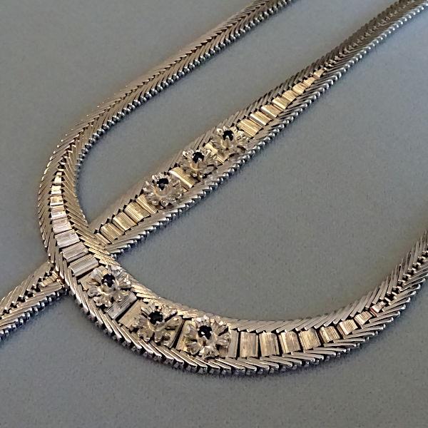 950905  Kette und Band in Silber, rhodiniert, Schmuck gebraucht, Second Hand / Goldschmiede Karl Spörl in Hof/Saale