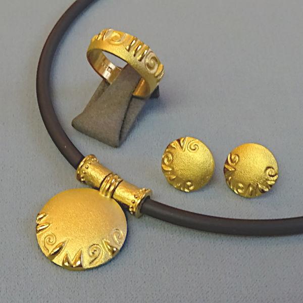 950909  Set, 3-tlg. in 990-Gold, Schmuck gebraucht, Second Hand / Goldschmiede Karl Spörl in Hof/Saale